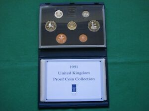 Royal Mint 1991 UK Proof Coin Collection - Blue case including COA & box