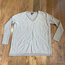 Womens Eileen Fisher V Neck Sweater Brown 100% Merino Wool Sz S