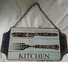 """Retrò/Vintage in metallo """"Cucina"""" Segno con catena-Il venditore del Regno Unito-Post in tutto il mondo"""