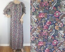 Vintage 70s Maxi Hand Tailored Cotton Autumn Fall Floral Loose Tunic Dress XL