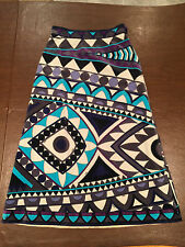 Vintage EMILIO PUCCI Multi-Color Geometric Pattern Long Velvet Skirt Small 2/4