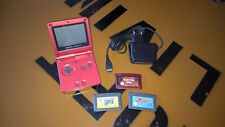 NINTENDO GameBoy Advance / GBA SP rot + Super Mario 3 + Yoshi´s Island + Pokemon