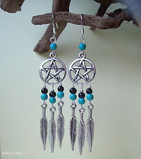 Turquoise and Black Agate Pentagram Dreamcatcher Psychic Protection Earrings