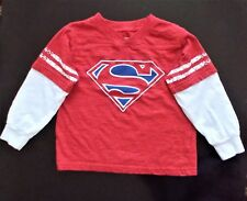 Official Superman Top Size 3T Super Hero Shirt, Long Sleeves, Stripes Red Cotton