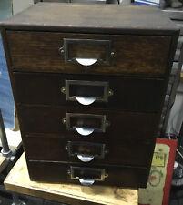 Vintage Shop Counter Top Display Wooden File Drawers Haberdashery 5 Drawer x 1