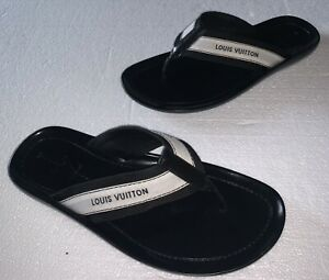 Louis Vuitton Sandals Thongs Flip Flops Shoes Black & White Logo Canvas Size 9