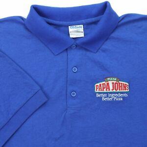 "Papa Johns Pizza Men Large 42"" Polo Shirt Employee Uniform Blue Cotton Blend S/S"