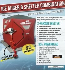 2 Person Ice Shelter and Ice Auger Combo! ThunderBay V1599