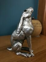 Moongazing Hare Silver Effect Sculpture by Harriet Glen Home Decor Rabbit