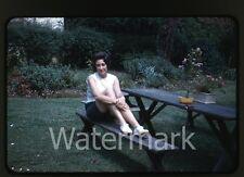 1960s kodachrome photo slide  Lady sitting a bench