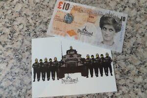 Banksy Dismal stamped tenner & dismal stamped postcard Dismaland 2015 WSM