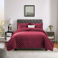 Luxury Quilted Velvet Bedspread Double King Size Bed Throw 3 Piece Bedding Sets