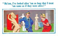 POSTCARD  COMIC   DONALD  McGILL   Museum  Nude  Statues  Keeper  Old  lady