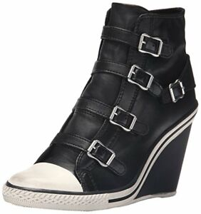 Ash Women's Shoes Thelma Fashion Wedge Heel Sneakers Black 100% Authentic
