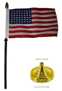 "48 Star Linear USA American 4""x6"" Flag Desk Set Table Wood Stick Staff Gold Base"
