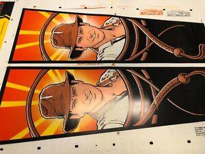 Vintage Pinball Machine Art Indiana Jones Original Silk Screen Test 2'x5' Print