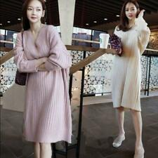 Women's Autumn Korean V-neck Loose Knitting Sweater Dress Long Woolen Sweaters