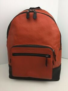 COACH F31274 West Backpack Carry On Book Bag Pebbled Leather Orange Russet NWT
