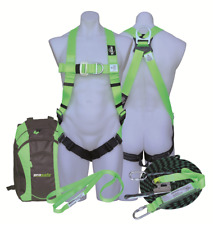 Protecta ROOF WORKERS KIT 15m Kernmantle Rope, Harness, Anchor Strap & Bag GREEN