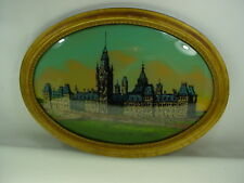 ANTIQUE OVAL BUBBLE GLASS REVERSE PAINTING PARLIMENT BUILDINGS OTTAWA CANADA