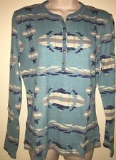 CHAPS Women's JANELLE Long Sleeve Waffle Sweater NAVAJO TURQUOISE MULTI PXL NWT