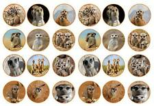 24 MEERKAT CAKE TOPPERS MEERCAT  CAKE TOPPERS EDIBLE WAFER PAPER BIRTHDAY 4cm