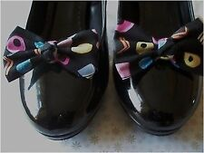 PAIR BLACK LIQUORICE ALLSORTS COTTON NOVELTY SHOE BOW CLIPS RETRO BOWS HANDMADE