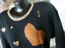 Carole Little Knitwear Embellished Sweater  Black Rust Gold Metal Charms P M