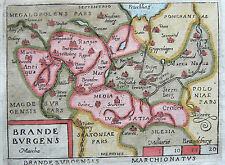 Ortelius: vivide RAME chiave Cartina Brandeburgo Berlino Neumark Polonia 1655