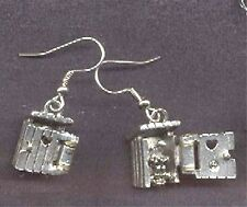 Funny OUTHOUSE EARRINGS-Camping Country Bathroom Charm Costume Jewelry-OPENS!