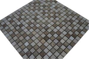 Marmor Mosaik Fliesen Naturstein Matte Braun / Creme / Beige Boden Wand, 521M