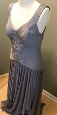 NEW wi tags - Gray/Silver Evening GOWN wi Mesh Skirt - JS Collections – 14