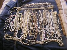 Vintage Mostly White  Costume Jewelry Necklace Lot