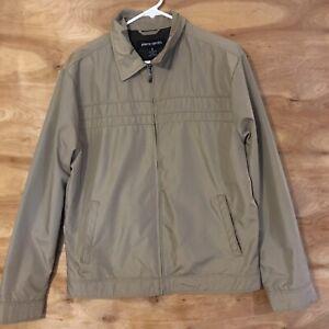 Vintage Pierre Cardin Mens Zip Up Jacket windbreaker Sz Medium Tan Lined