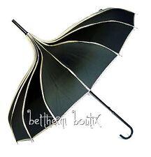 Goth : Parapluie ou Ombrelle Pagode NOIR liserés à Pois Manga Lolita Gothique