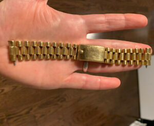 Rolex 18K Yellow Gold Bark President Band For Vintage Watch 1807 1960s 1803