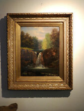 Estate Find! 1 of 2 Mid Century Landscape 'WATERFALL A.Ward  Oil Painting Gilded