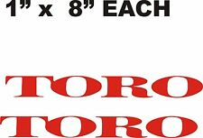 "PAIR OF TORO DECALS RED     1"" X 8"""
