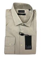 Pal Zileri Lab Slim Fit Beige Tan Brown Stripe Spread Mens Dress Shirt Size 17.5