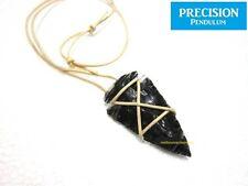 Black Obsidian Arrowhead Tribal Pendant Necklace Gemstone Crystal Protection