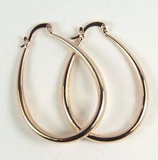Women's 18 Carat Rose Gold Plated Large Oval Hoop Earrings Jewellery