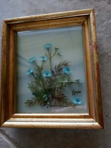 Original 3-D Oil Painting Wildflowers Edmond J Nogar Signed No. B-9197