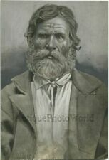 Siberia Russia political prisoner with marks on face antique photo