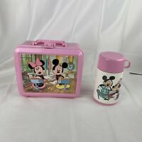 Vintage Disney Mickey Mouse And Minnie Aladdin Pink Lunch Box With Thermos