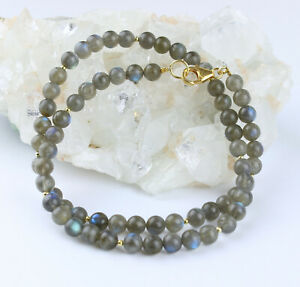 Noble Labradorite Chain Grey With Blauschimmer Necklace 925 Silver Gold 46,5 CM