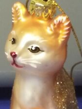 Adorable glass Sitting orange Kitty Cat ornament New in Box