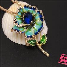 Betsey Johnson Pendant Women Necklace New Blue Enamel Beautiful Flower Crystal