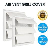 6'' Gravity External Shutter Wall Grille Grill Duct Air Vent Exhaust Fan 200mm
