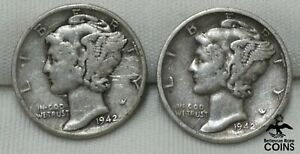 Lot of 2: 1942-P & -S USA Coins Mercury Dime ERRORS DOUBLING/DOUBLE DIE