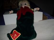 """Precious Moments Christmas Stocking doll """"Gabriella"""" with green velvet stocking"""